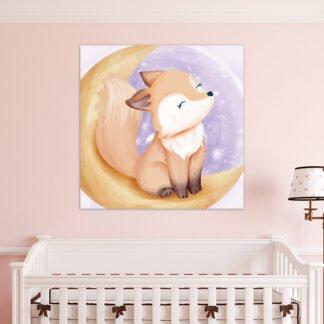Παιδικός πίνακας αλεπού στο φεγγάρι