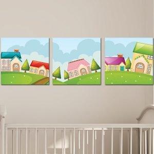 Παιδικοί πίνακες σε καμβά σπιτάκια