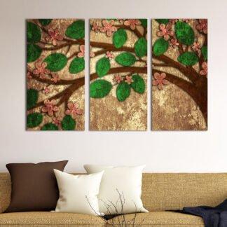 Τρίπτυχος πίνακας σε καμβά Δέντρο