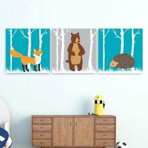 Παιδικοί πίνακες σε καμβά ζωάκια στο δάσος