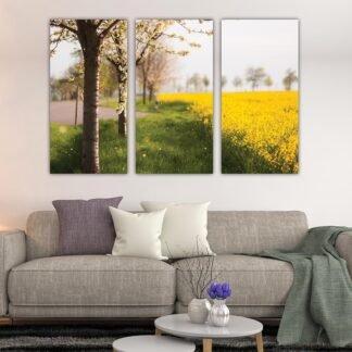 Τρίπτυχος πίνακας σε καμβά Κίτρινο Λιβάδι
