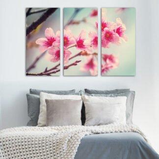 Τρίπτυχος πίνακας σε καμβά Κλαδί με Ροζ Λουλούδια