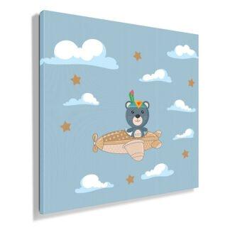 Παιδικός πίνακας σε καμβά αρκουδάκι με αεροπλανάκι