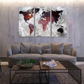 Τρίπτυχος πίνακας σε καμβά Triangle World Map
