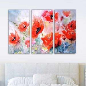 Τρίπτυχος πίνακας σε Red Watercolor flowers