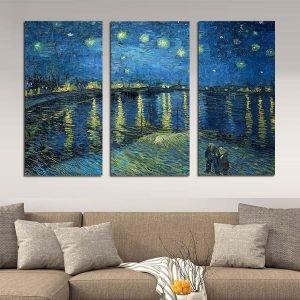 Τρίπτυχος πίνακας σε καμβά έναστρη νύχτα πάνω από τον ροδανό