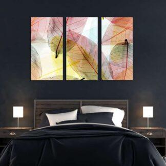 Τρίπτυχος πίνακας πολύχρωμα φύλλα