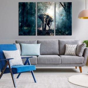 Τρίπτυχος πίνακας σε καμβά Abstract Elephant