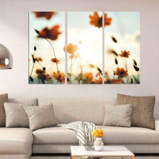 Τρίπτυχος πίνακας flower field  in the sun