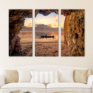 Τρίπτυχος πίνακας βάρκα και σπηλιά