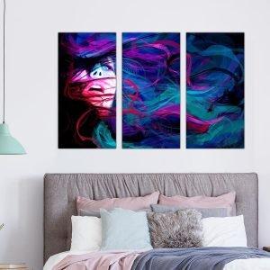 Τρίπτυχος πίνακας σε καμβά Abstract Woman
