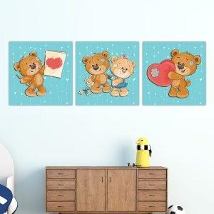 Παιδικοί πίνακες σε καμβά Αρκουδάκια (γαλάζιο)