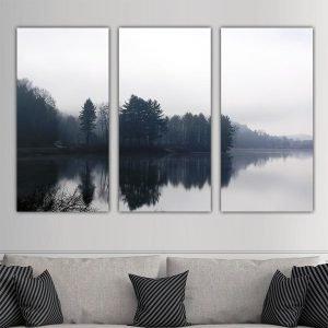 Τρίπτυχος πίνακας Black & White Lake