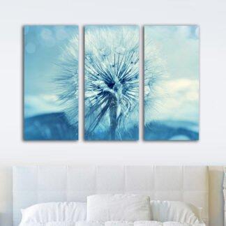 Τρίπτυχος πίνακας σε καμβά Blue Dandelion