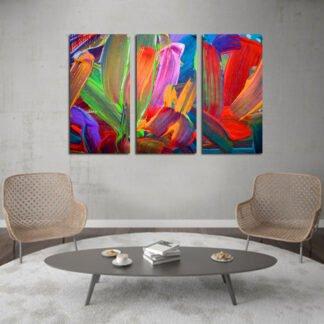 Τρίπτυχος πίνακας σε καμβά Color Paint