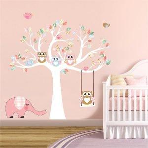 Δέντρο με κουκουβάγιες νο3 αυτοκόλλητο τοίχου