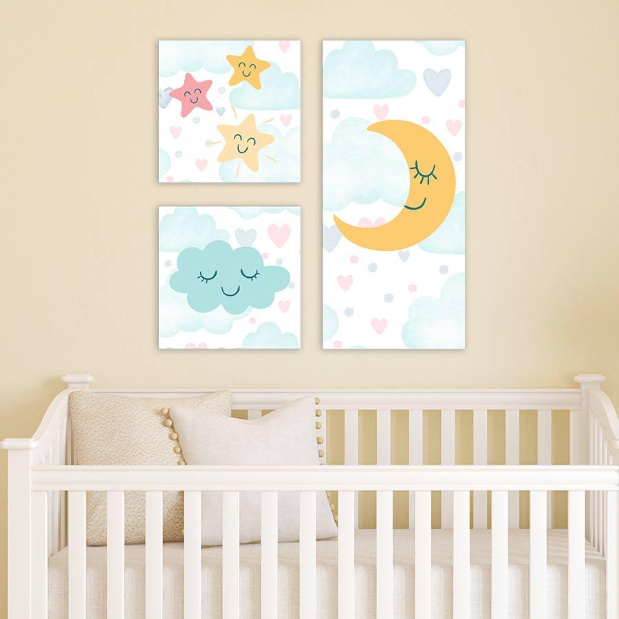 Παιδικοί πίνακες Φεγγαράκι με αστεράκια και συννεφάκι