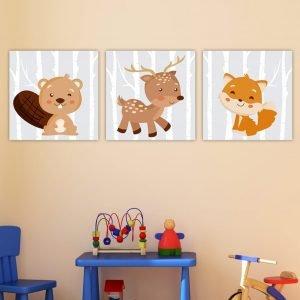 Παιδικοί πίνακες σε καμβά Forest Animals no2