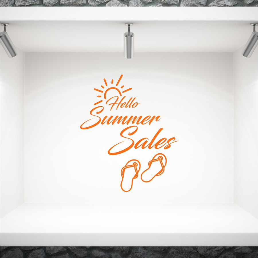Αυτοκόλλητο βιτρίνας Hello Summer Sales
