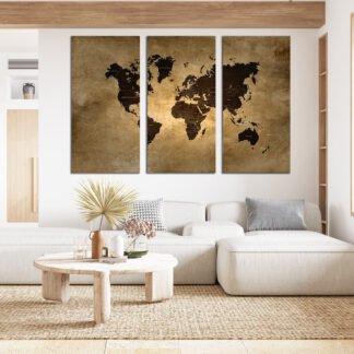 Τρίπτυχος πίνακας World Map X