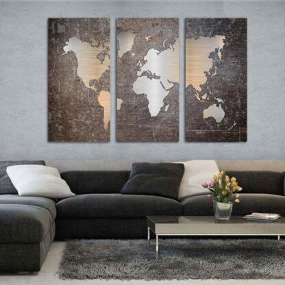 Τρίπτυχος πίνακας Metal effect world Map