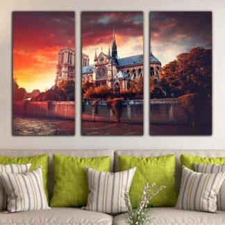 Τρίπτυχος πίνακας σε καμβά Sunset Notre Dame