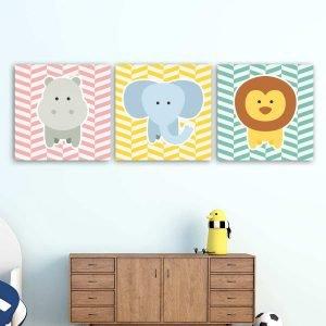 Παιδικοί πίνακες σε καμβά Zoo animals pink