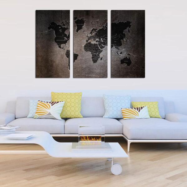 Τρίπτυχος πίνακας σε καμβά Rusty World Map