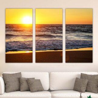 Τρίπτυχος πίνακας σε καμβά Sea Sunset no2