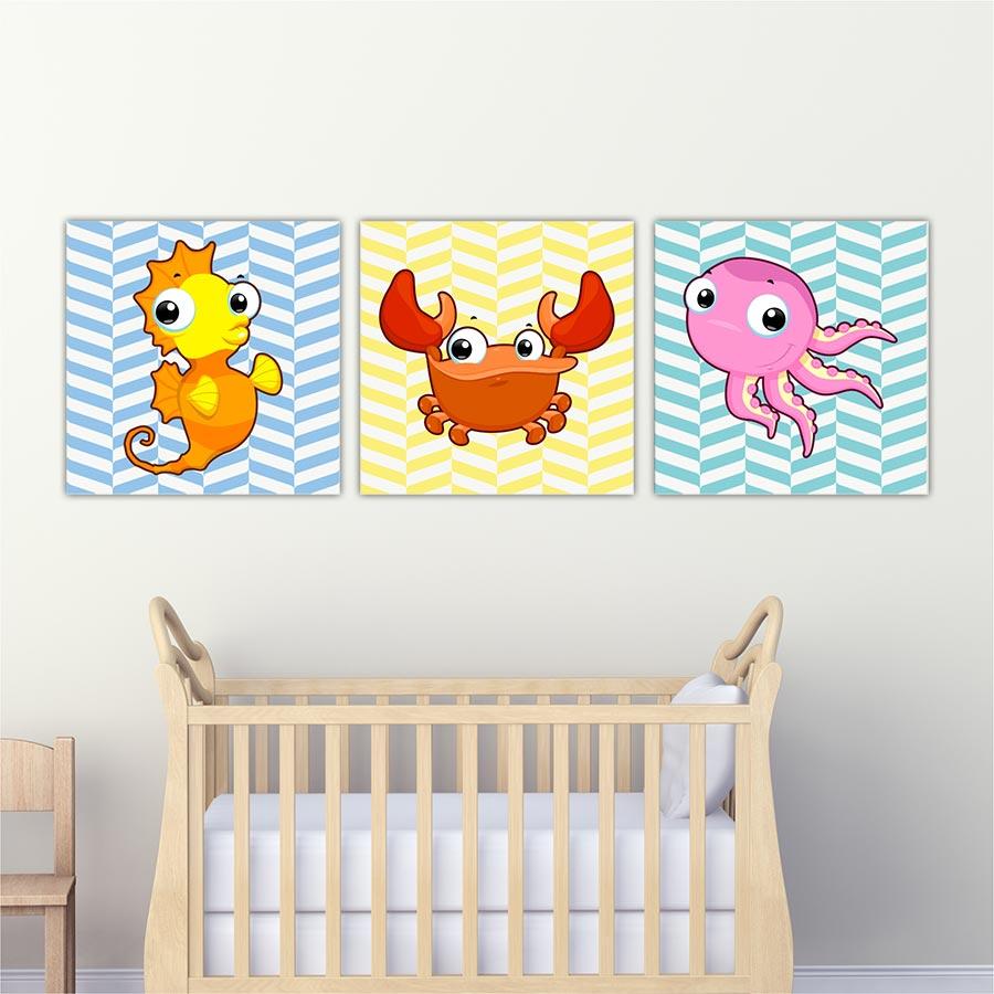 Παιδικοί πίνακες σε καμβά Θαλάσσια ζωάκια