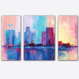 Τρίπτυχος πίνακας σε καμβά Skylines Artistic
