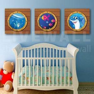 """Παιδικοί πίνακες σε καμβά """"unda da sea"""""""