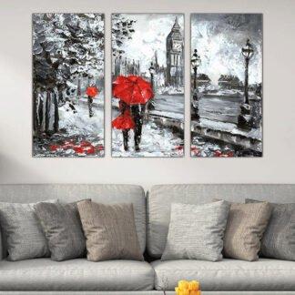 Τρίπτυχος πίνακας βροχερός περίπατος