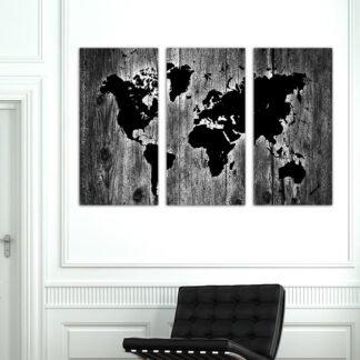 Τρίπτυχος πίνακας σε καμβά Wooden World Map Black and White