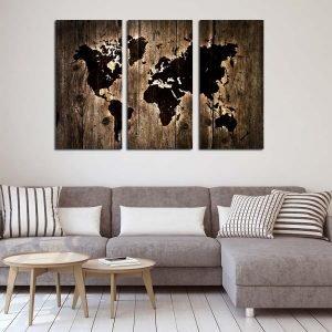 Τρίπτυχος πίνακας Wooden World Map lightning effect