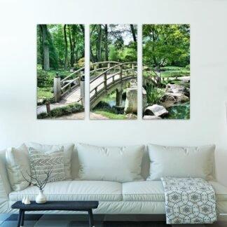 Τρίπτυχος πίνακας σε καμβά Zen Bridge