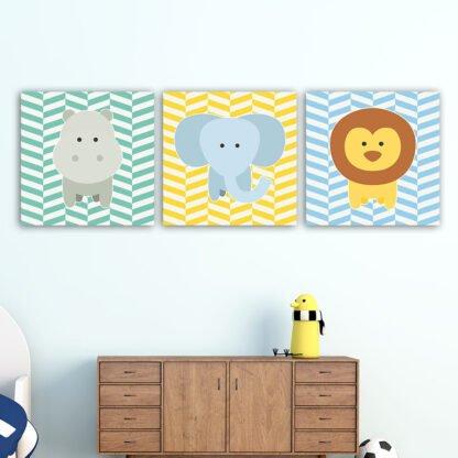 Παιδικοί πίνακες σε καμβά Zoo animals