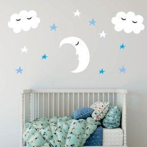 Φεγγαράκι με συννεφάκια και γαλάζια αστεράκια αυτοκόλλητο τοίχου