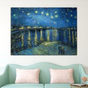 Έναστρη νύχτα πάνω από τον Ροδανό – Starry Night over the Rhone, Vincent Van Gogh – Αντίγραφο πίνακας σε καμβά