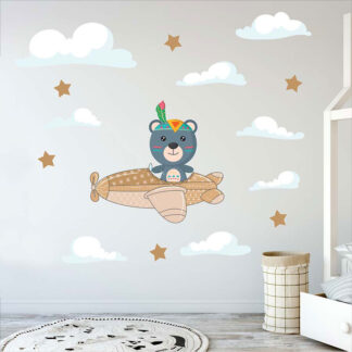 Αυτοκόλλητο τοίχου αρκουδάκι με αεροπλανάκι και συννεφα για βρεφικό και παιδικό δωμάτιο