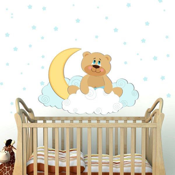 Αρκουδάκι με φεγγαράκι και αστεράκια αυτοκόλλητο τοίχου