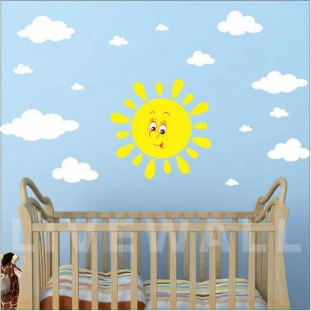 Χαρούμενος ήλιος αυτοκόλλητο τοίχου