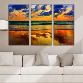 Τρίπτυχος πίνακας σε καμβά Ονειρικό Ηλιοβασίλεμα