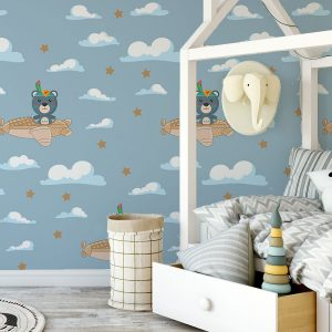 Παιδική φωτοταπετσαρία τοίχου αρκουδάκι με αεροπλανάκι