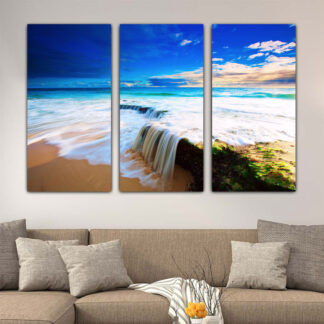Τρίπτυχος πίνακας σε καμβά Παραλία