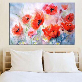 Watercolor Red Flowers πίνακας σε καμβά