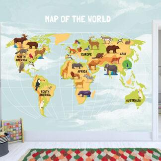 Ταπετσαρία τοίχου ο χάρτης του κόσμου