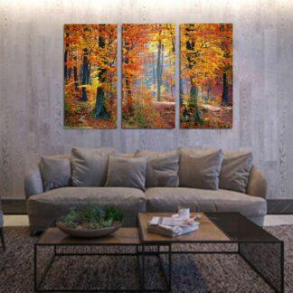 Τρίπτυχος πίνακας σε καμβά Φθινοπωρινό Δάσος