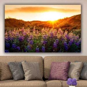 Purple Flowers Sunset πίνακας σε καμβά