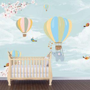 Αερόστατα και ελεφαντάκια παιδική φωτοταπετσαρία τοίχου